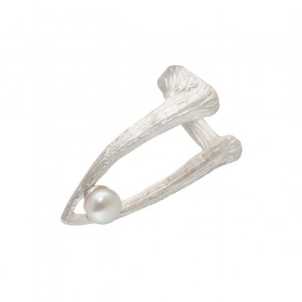 Cuttlebone tip pearl ring-silver