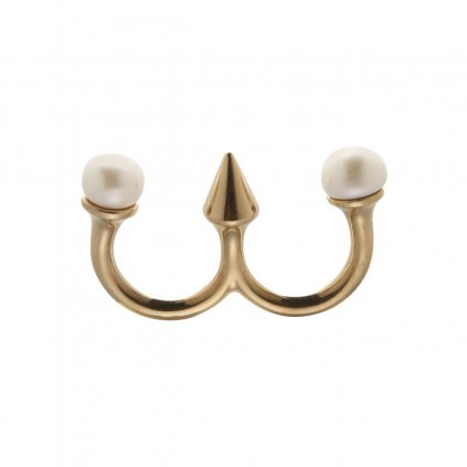 Two pearl double ring- gold-plated silver