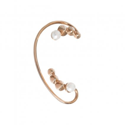 Double cone studs earcuff - gold-plated silver