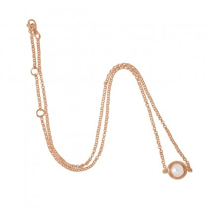 Circle pearl chain necklace - gold-plated silver
