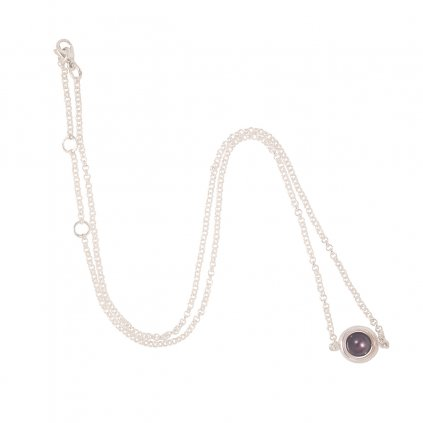 Circle pearl chain necklace - silver