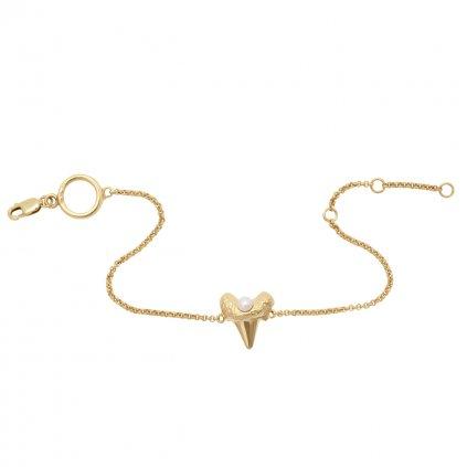 Mini shark tooth heart bracelet - 14kt yellow gold