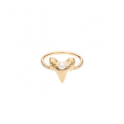 Mini shark tooth heart ring brilliant - 14kt yellow gold