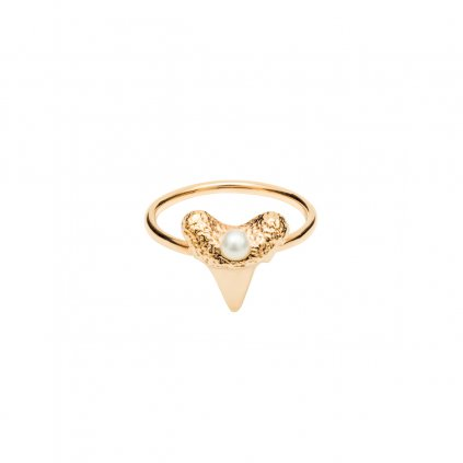 Mini shark tooth heart ring - gold-plated silver