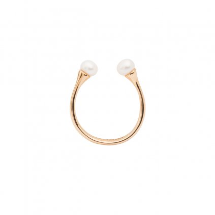 Double pearl ring - gold-plated silver