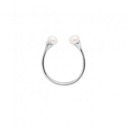 Double pearl ring - 14KT white Gold