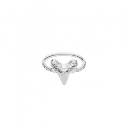Mini shark tooth heart ring brilliant - 14kt white gold