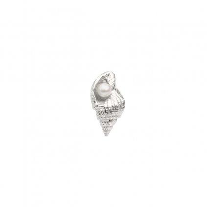 Concha pearl earring - silver
