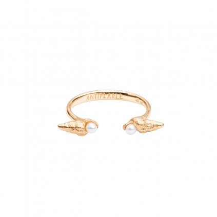 Concha pearl ring - gold-plated silver