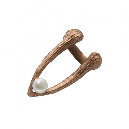 Cuttlebone tip pearl ring-gold-plated silver