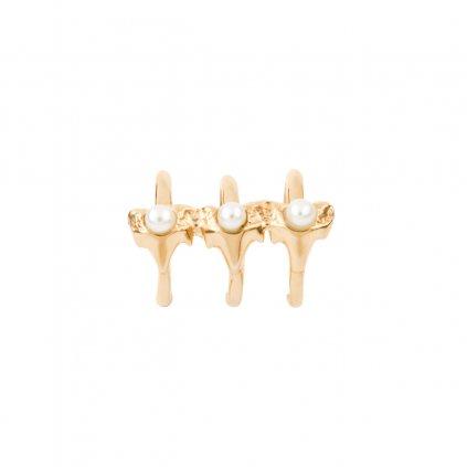 Petite A triple earcuff - gold-plated silver