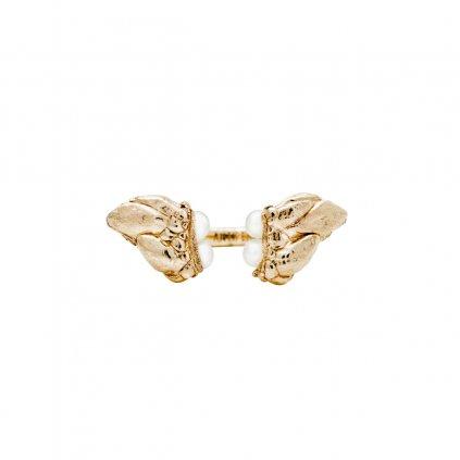 Lyra pearl ring - 14kt yellow gold