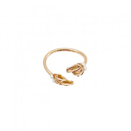 Halia pearl ring B - gold-plated silver