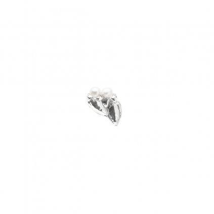 Ava pearl earring C - left - 14 kt white gold