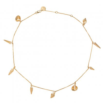 Concha multi pearl necklace short - gold-plated silver