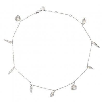 Concha multi pearl necklace short - silver