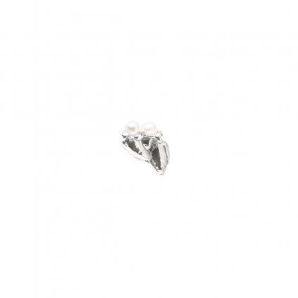 Ava pearl earring C - left - silver