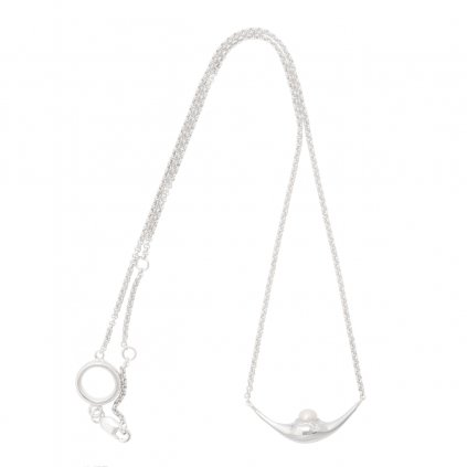 Mini fang necklace - white 14kt gold