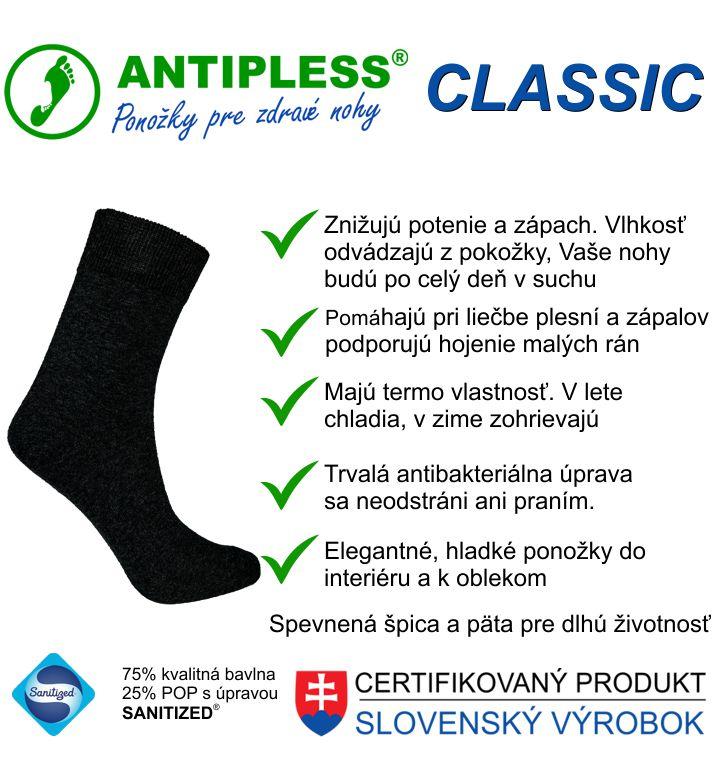 Hladké lítkové ponožky Antipless Classic