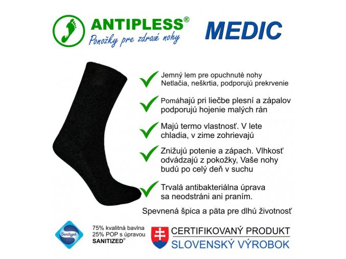 ponozky antipless medic 3 top