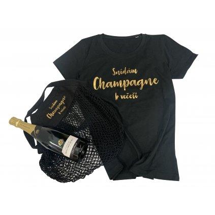 Láhev Champagne Carte Blanche + tričko a taška Champagne