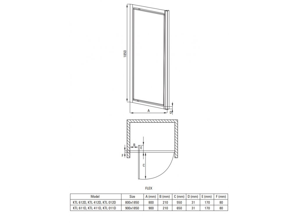 Aplomo Open mat sprchové dveře 80x185, 90x185 (Šířka dveří 80 cm)