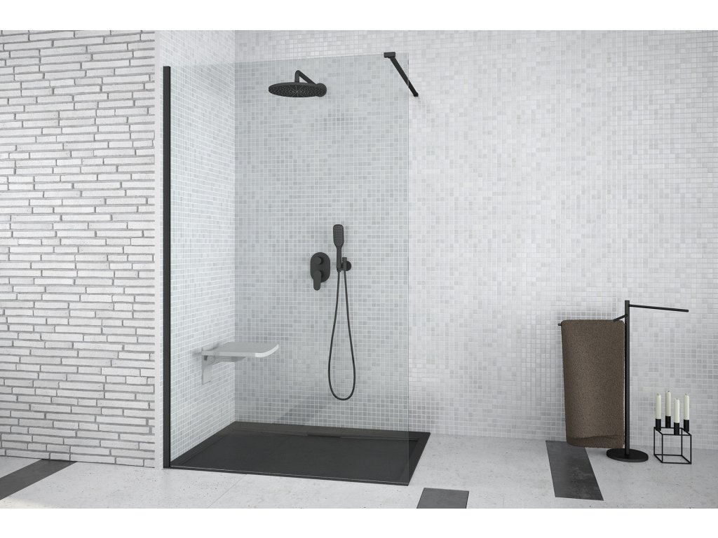 Besco Aveo Black 100 Walk In sprchový kout (Šířka dveří 100 cm)