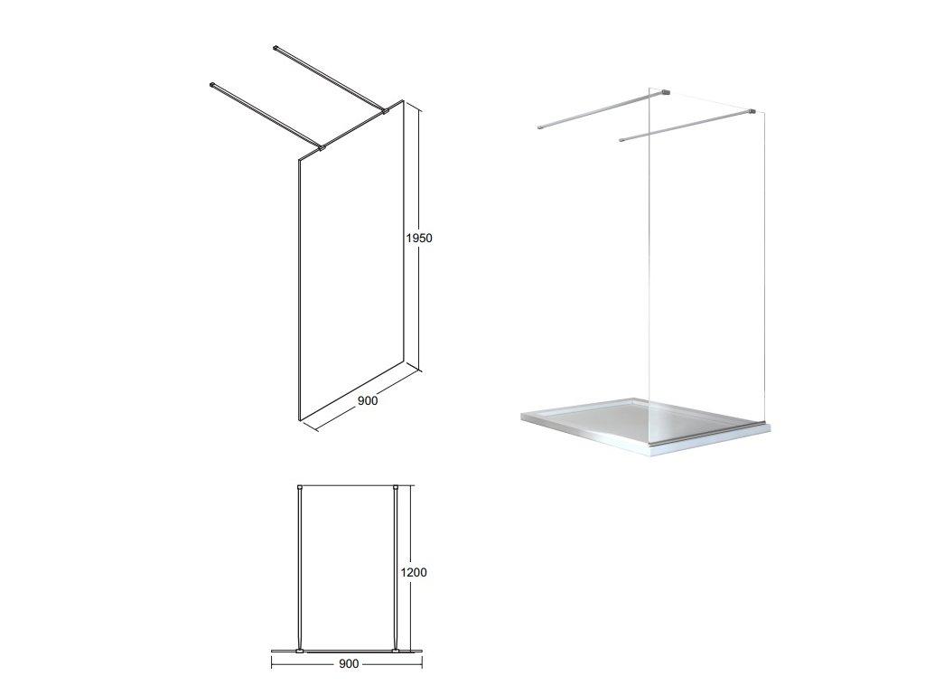 Besco Aveo Due Black 100 Walk In sprchový kout (Šířka dveří 100 cm)