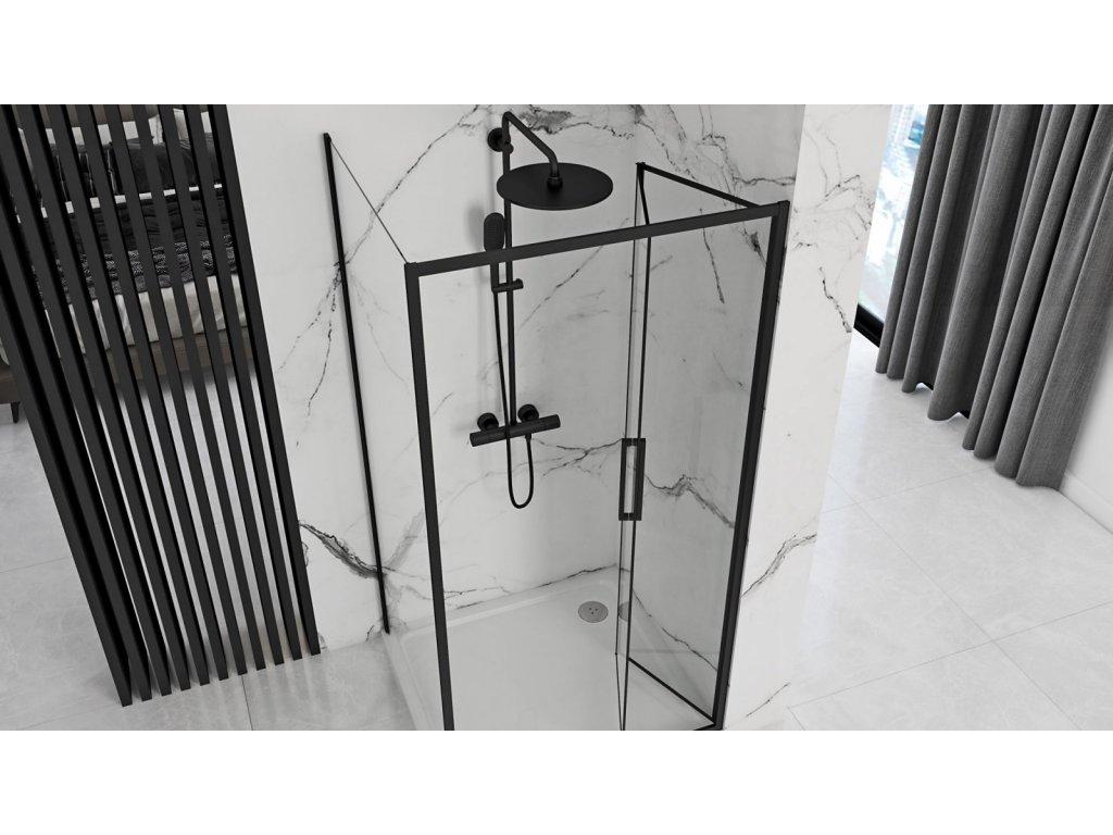Black Edition Rapid Fold sprchové dveře 80x195, 90x195, 100x195 (Šířka dveří 100 cm)