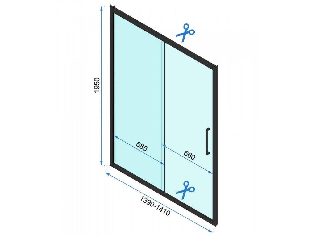 Black Edition Rapid Slide sprchové dveře 100x195, 110x195, 120x195, 130x195, 140x195, 150x195, 160x195 (Šířka dveří 100 cm)