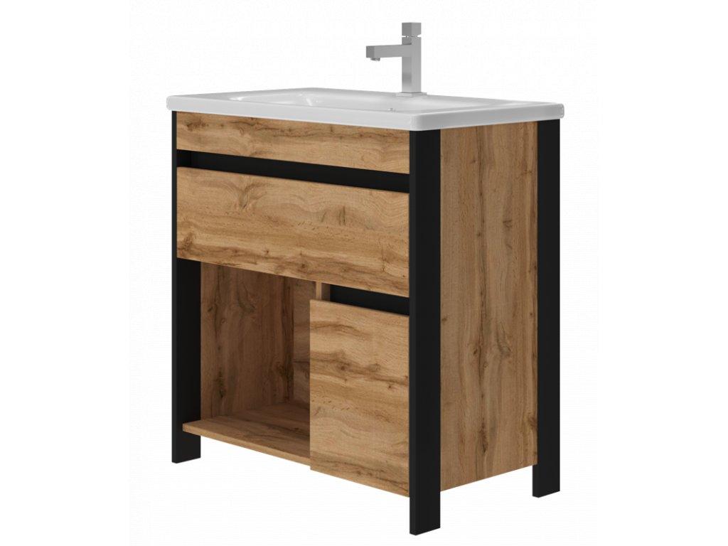 2653 kingsbath bronx oak 80 koupelnova skrinka s umyvadlem