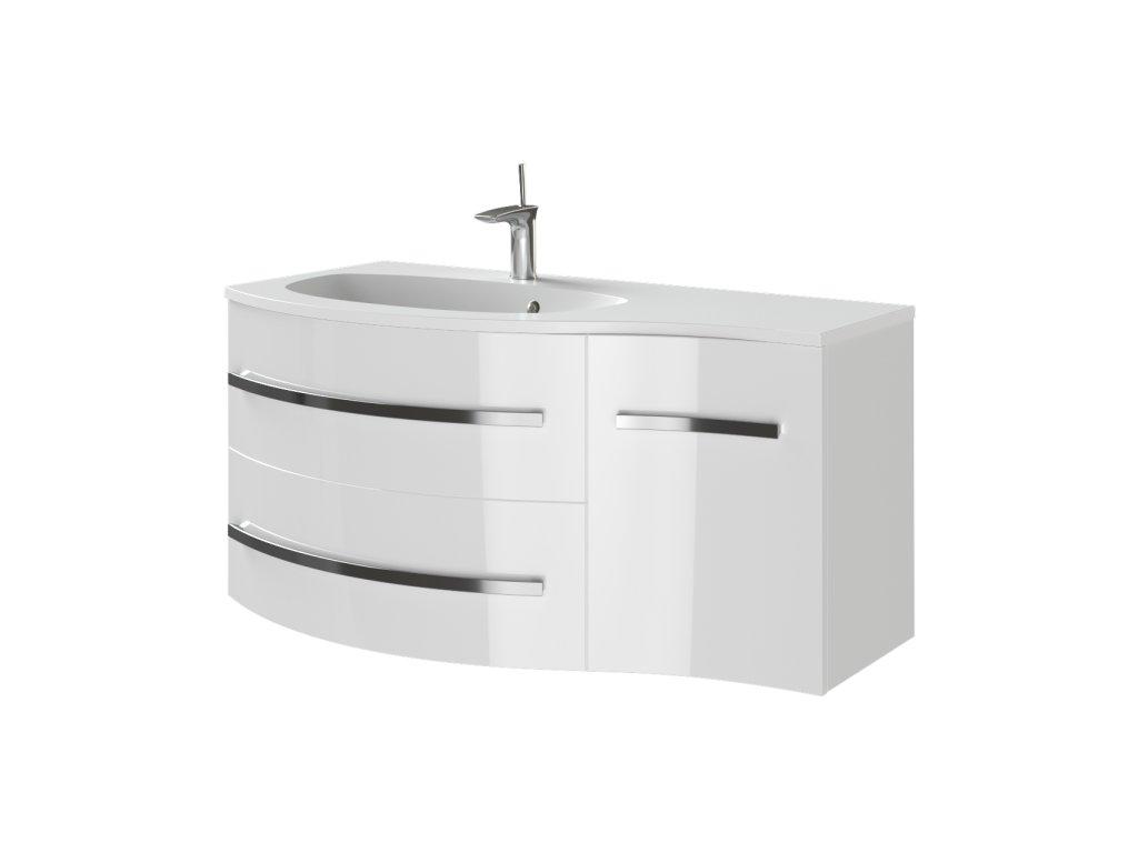 Kingsbath Vanessa White 110 koupelnová skříňka s umyvadlem (Orientace Levá)