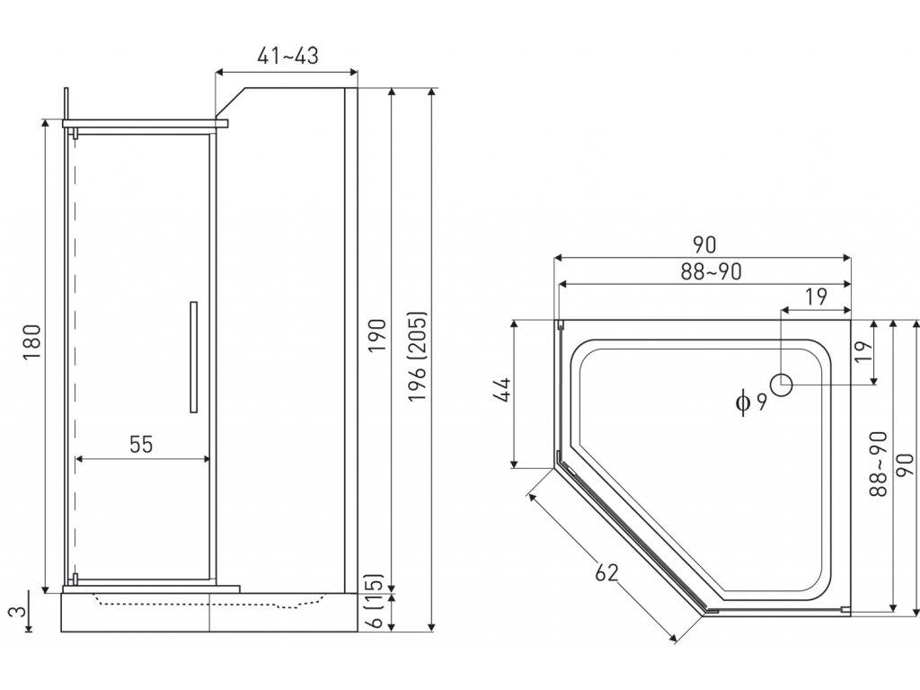Aplomo Five 100x80x203 sprchový kout komplet s vaničkou (Orientace Levá)