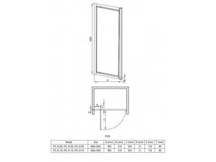Aplomo Open 80x185 grahpite sprchové dveře (Šířka dveří 80 cm)
