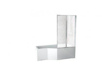 Besco Integra akrylátová vana s dvoudílnou zástěnou 150x75, 170x75 (Délka vany 150 cm, Orientace Levá)