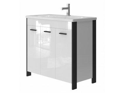 2563 kingsbath broadway black 90 koupelnova skrinka s umyvadlem a kosem