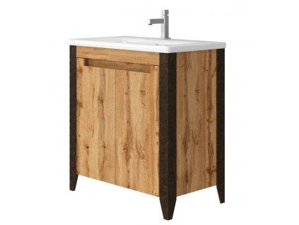 4795 kingsbath queen 80 wotan oak koupelnova skrinka s umyvadlem