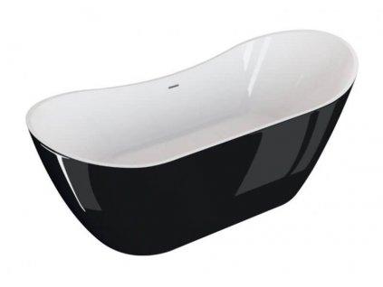 Polimat Abi Black volně stojící akrylátová vana 180x80, lesk (Délka vany 180 cm)