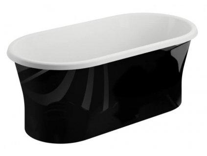 Polimat Amona Black volně stojící akrylátová vana 150x75 lesk (Délka vany 150 cm)