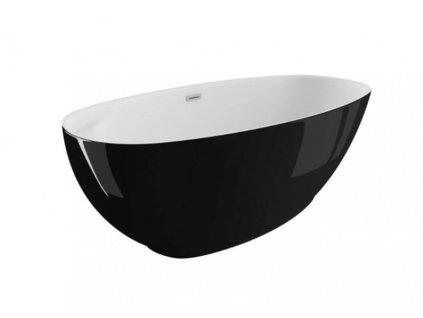 Polimat Kivi volně stojící akrylátová vana 165x75, černá lesk (Délka vany 165 cm)