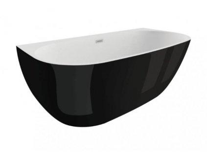 Polimat Risa volně stojící akrylátová vana 170x80, černá lesk (Délka vany 170 cm)