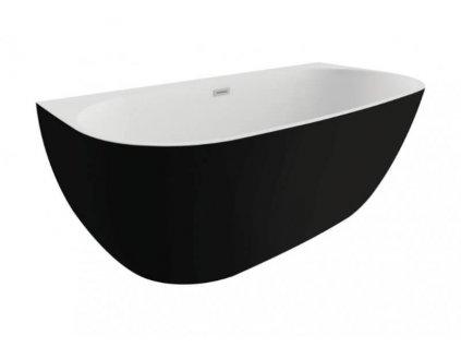 Polimat Risa volně stojící akrylátová vana 170x80, černá mat (Délka vany 170 cm)