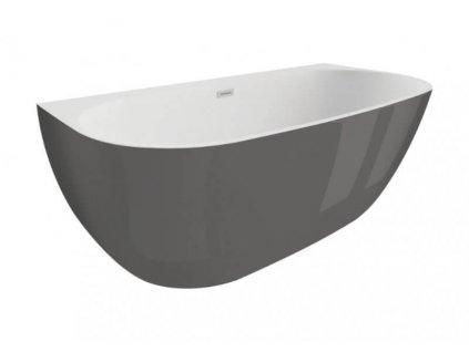 Polimat Risa volně stojící akrylátová vana 170x80, grafit (Délka vany 170 cm)