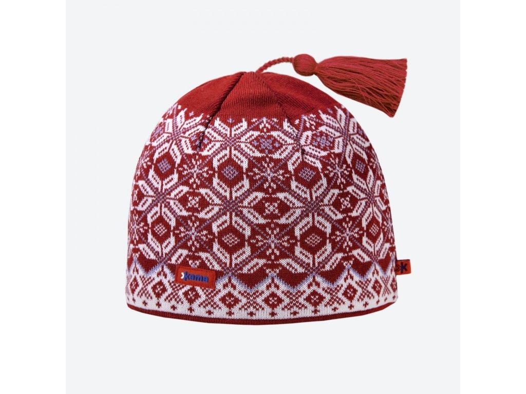 Kama A 57-104 pletená merino čepice červená