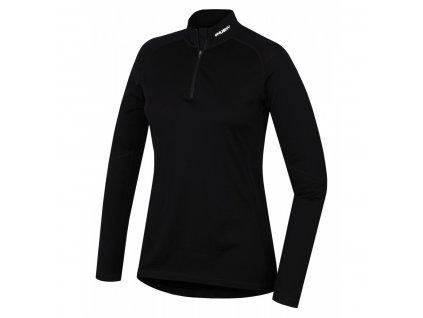 Husky Merino dámské termo tričko se zipem černé