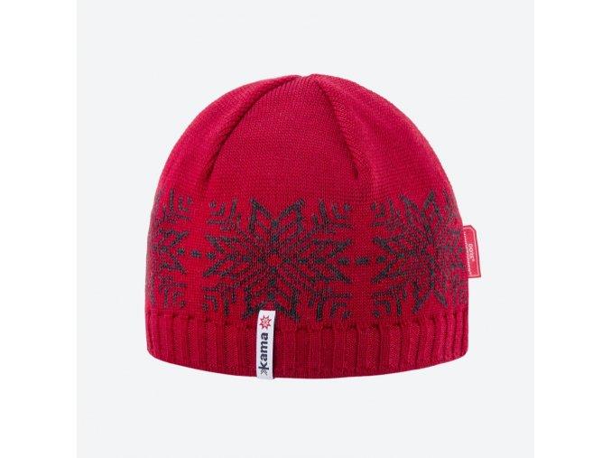 Kama AW 64-104 pletená merino čepice červená
