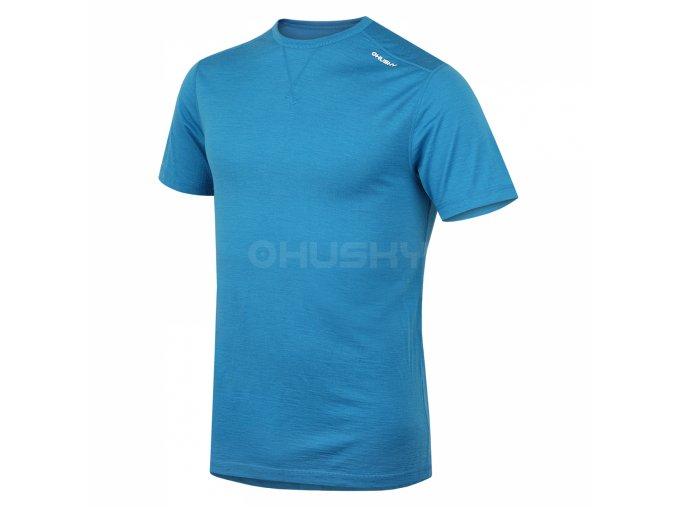 Husky Merino pánské termo tričko krátký rukáv modré