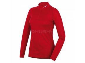 Husky Merino dámské termo triko se zipem červené