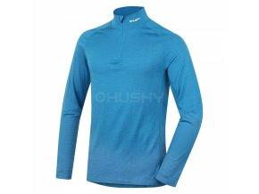 Husky Merino pánské termo tričko se zipem modré
