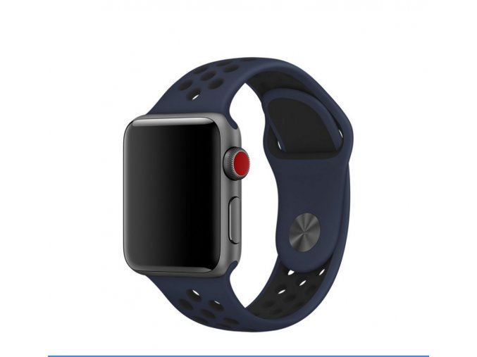 handodo double silikonovy pasek pro apple watch 1 2 3 42mm blue black modro cerny ien326073